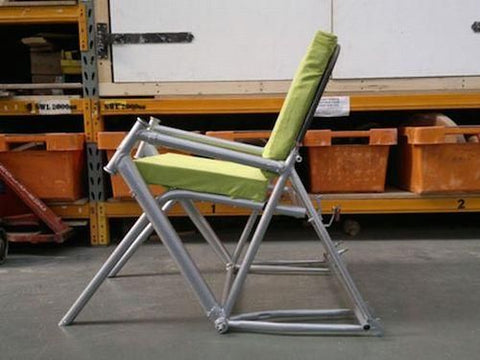Upcycled bike frame as chair