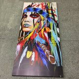 Colorful Feathers Girl Home Wall Canvas (3 Pieces)