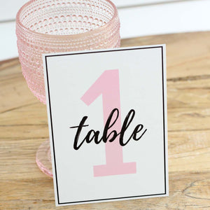 Wedding Table Numbers | Blush & Black Digital Table Number Set (1-20)