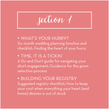 Section 1 overview: How to Plan Your Wedding in Six Months or Less