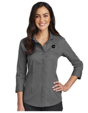Ladies 3/4-Sleeve Nailhead Non-Iron Shirt SMRH690