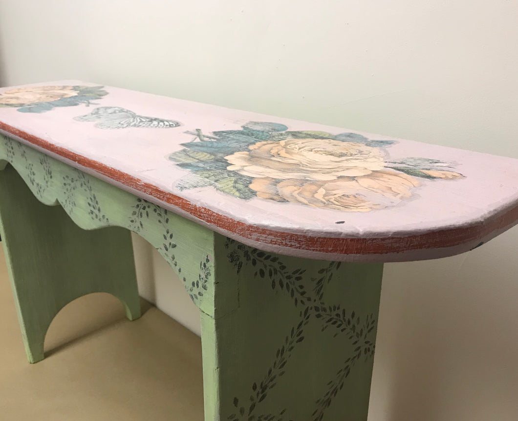 Hand painted and collage antique bench.