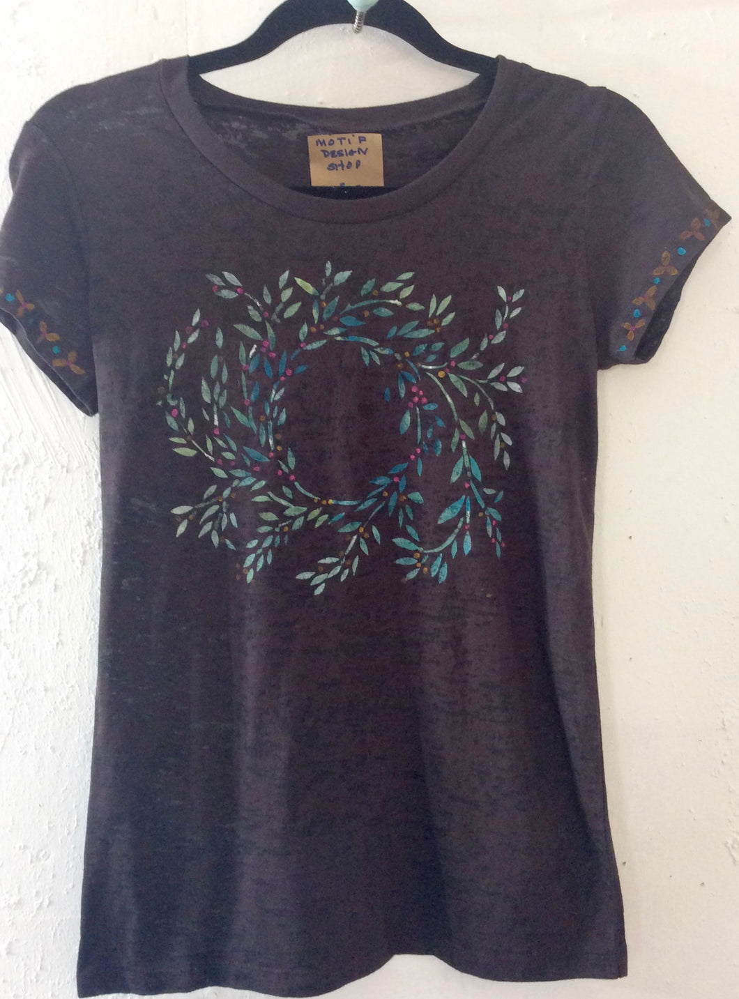 Wandering Circular VInes handpainted on a burn out brown crew neck tee