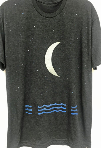 Moon and Water with Atmosphere on mens's tri blend crew neck charcoal black tee shirt
