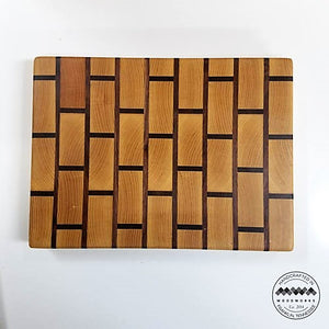 End Grain Butcher Block Ash & Walnut Brick Pattern