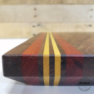 Bevel Edge Cutting Board Walnut w/ Bloodwood and Yellowheart