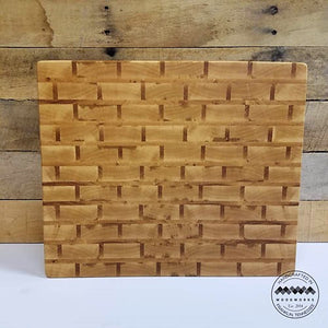 End Grain Butcher Block Maple and Ash Brick Pattern