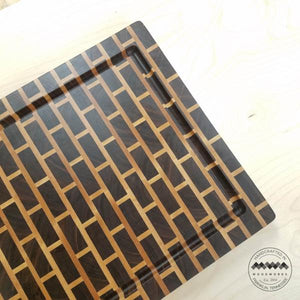 End Grain Butcher Block Walnut & Maple Brick Pattern