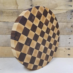 End Grain Butcher Block Walnut & Maple Checkerboard Round