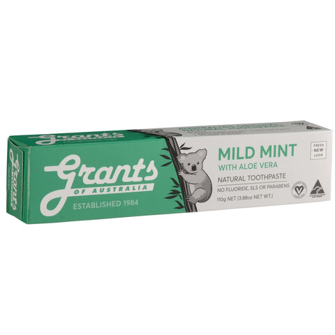 Grant's Natural Vegan Toothpaste - Mild Mint with Aloe