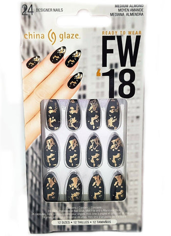 China Glaze Black and Gold False Nails