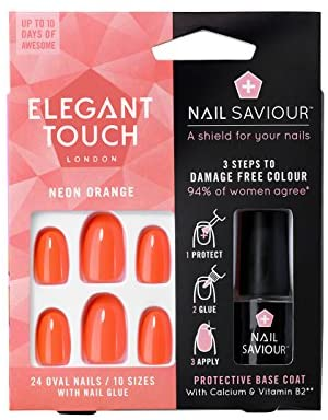 Elegant Touch Neon Orange False Nails with Nail Saviour