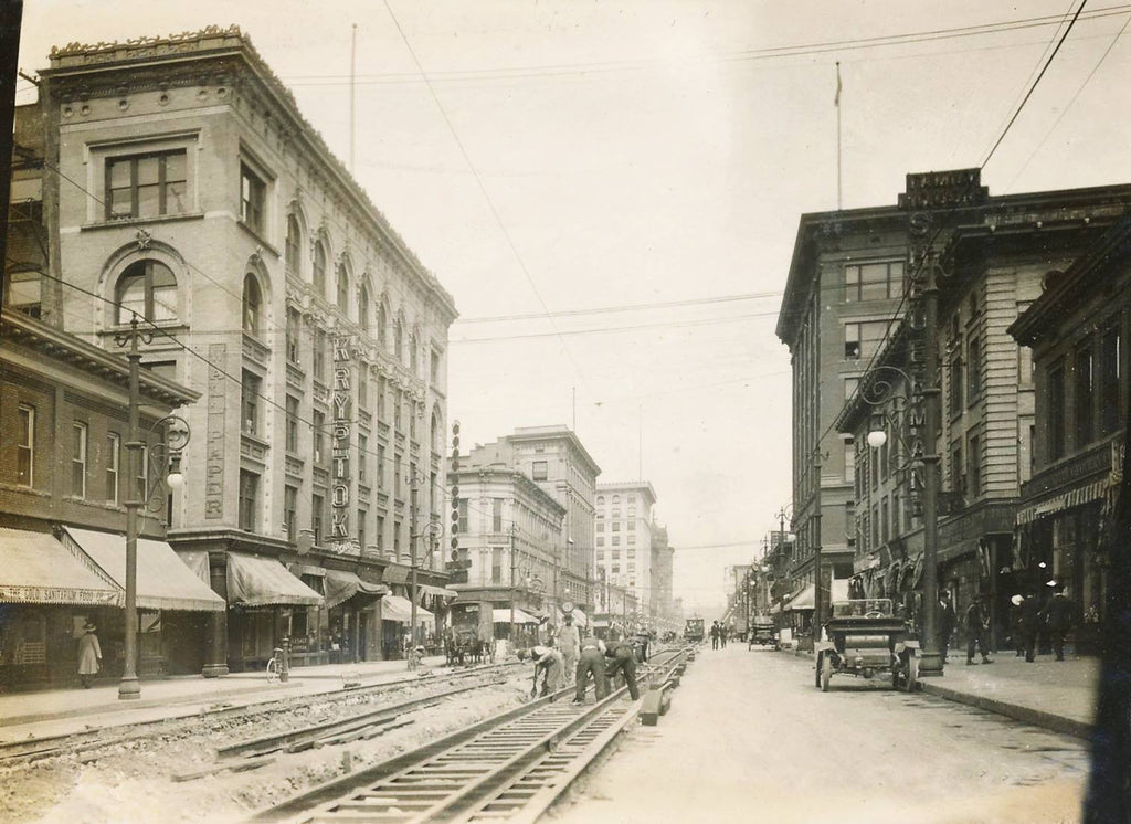 Black & White Photo 15th St Denver Colorado Men Laying Trolley Tracks