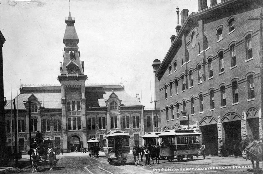 Union Depot and street car stables 1881