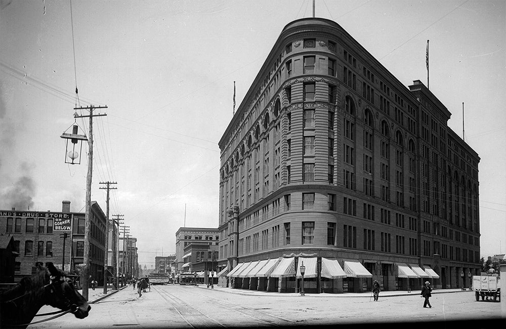 Black & White photograph of the Brown Palace Denver late 19th Century