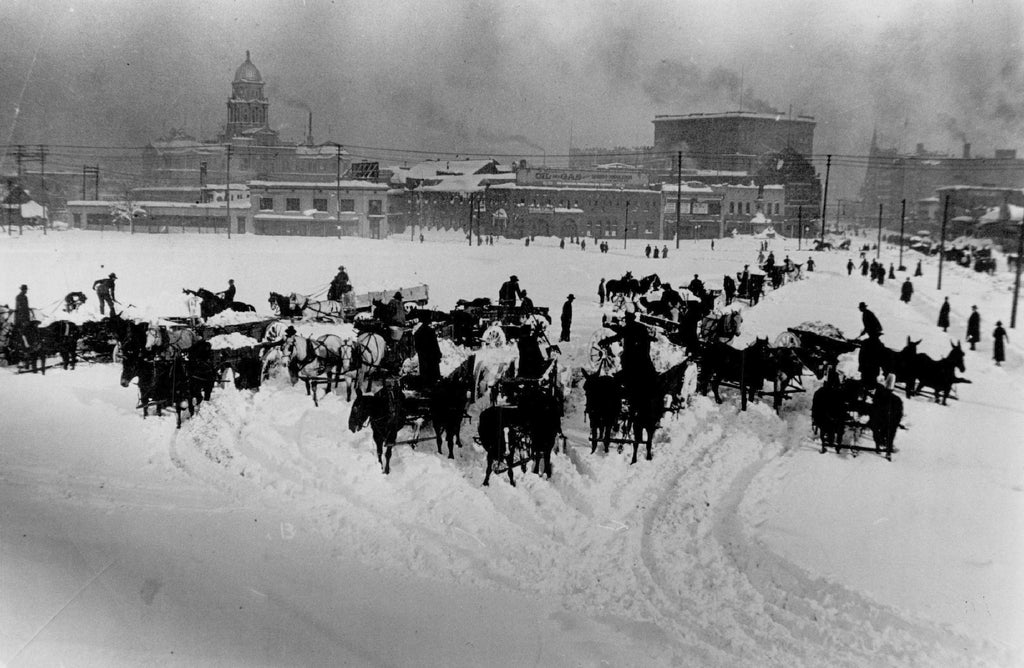 Denver 1913 Black & White Photo Snow Removal by Horse & Wagon