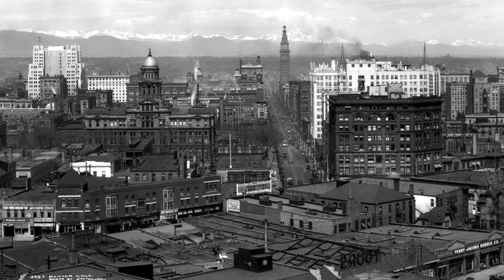 Northwest view of downtown Denver taken sometime between 1929 and 1933