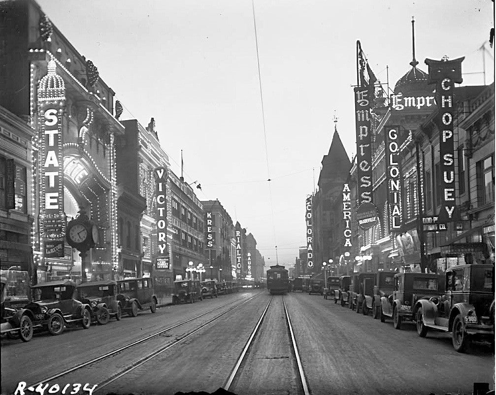 Denver CO Curtis St Black and White Photo 1927 Theatre Row