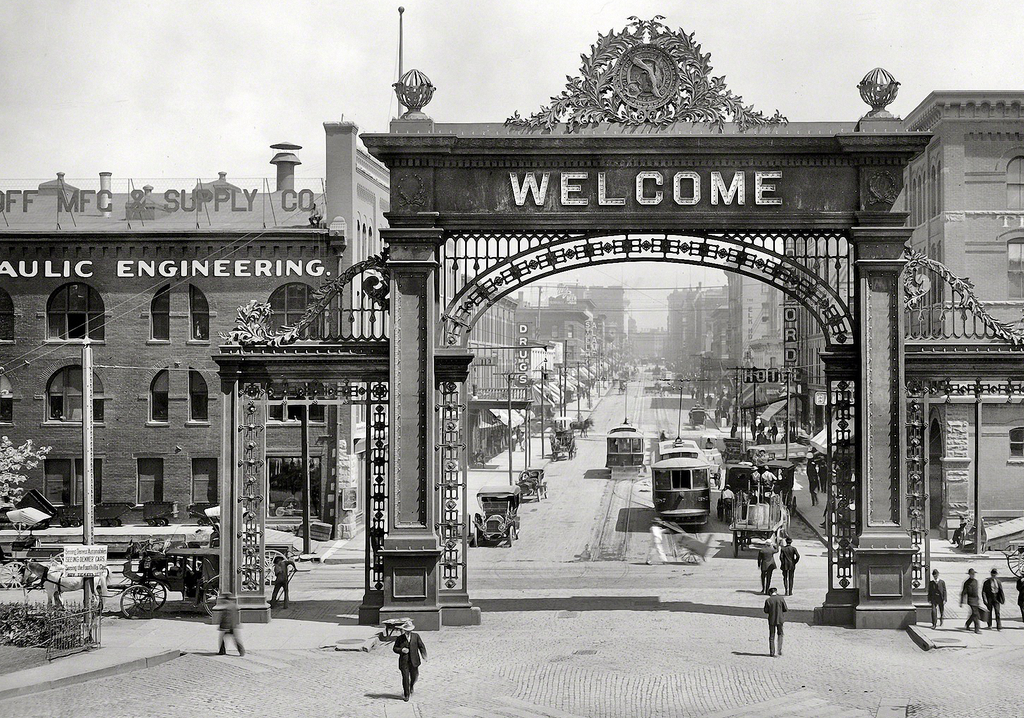 The Welcome Arch Denver Colorado 1908 Historic Black & White Photo