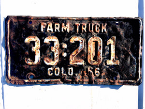 1956 Colorado License Plate 33201 Farm Truck For Sale