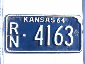 1964 Kansas License Plate RN4163 For Sale