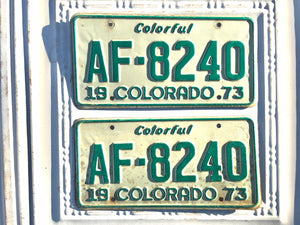 Set of 1973 Colorado Tractor License Plates AF8240 For Sale