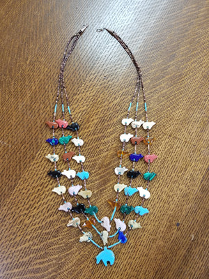 Native American 3 Strand Bear Fetish Multi Gemstone Heishi Necklace
