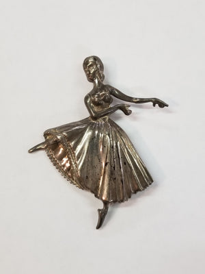 Sterling Silver Ballerina Dancer Brooch Pin
