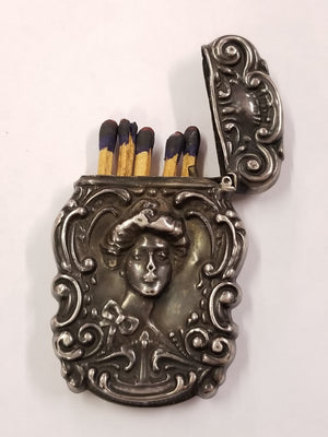 Beautiful Sterling Silver Victorian Lady Match Holder With Matches