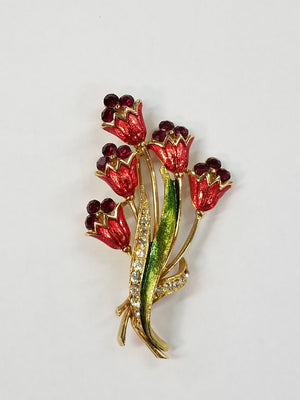 Red & Green Enamel Red Rhinestone Floral Vintage Brooch Pin