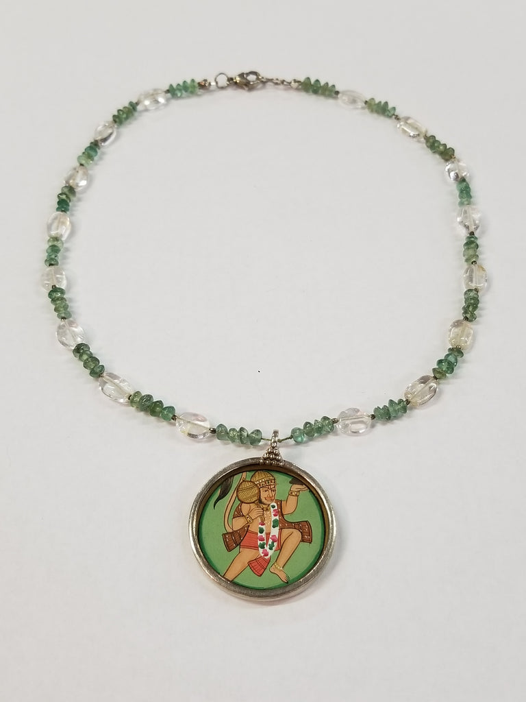 India Hand Painted Pendant on Quartz and Jade Gemstone Beaded Necklace