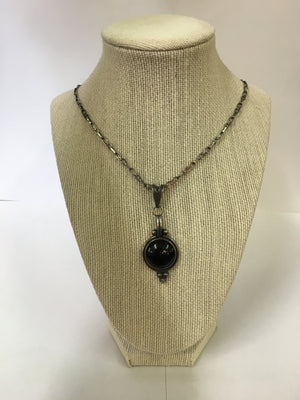 Antique Sterling Silver Black Onyx Necklace