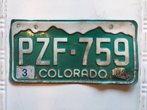 Vintage Colorado License Plate PZF759