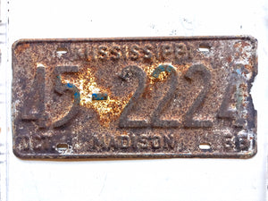 1966 Mississippi License Plate Madison County 452224
