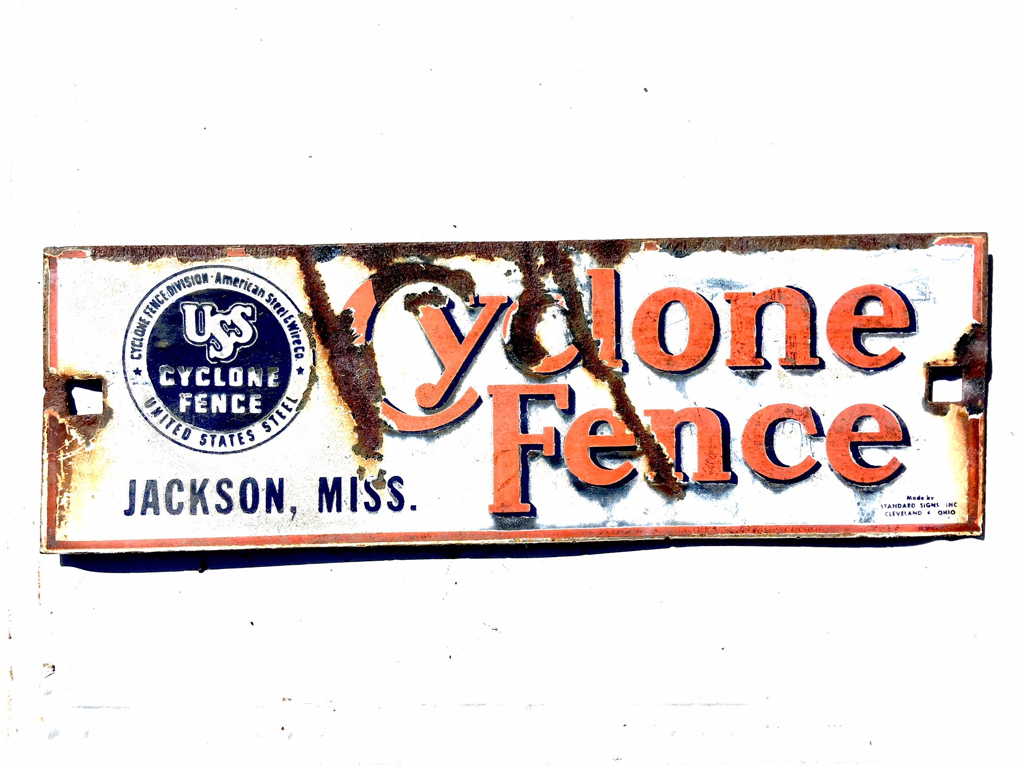 USS Cyclone Fence Jackson MISS Vintage Porcelain Sign