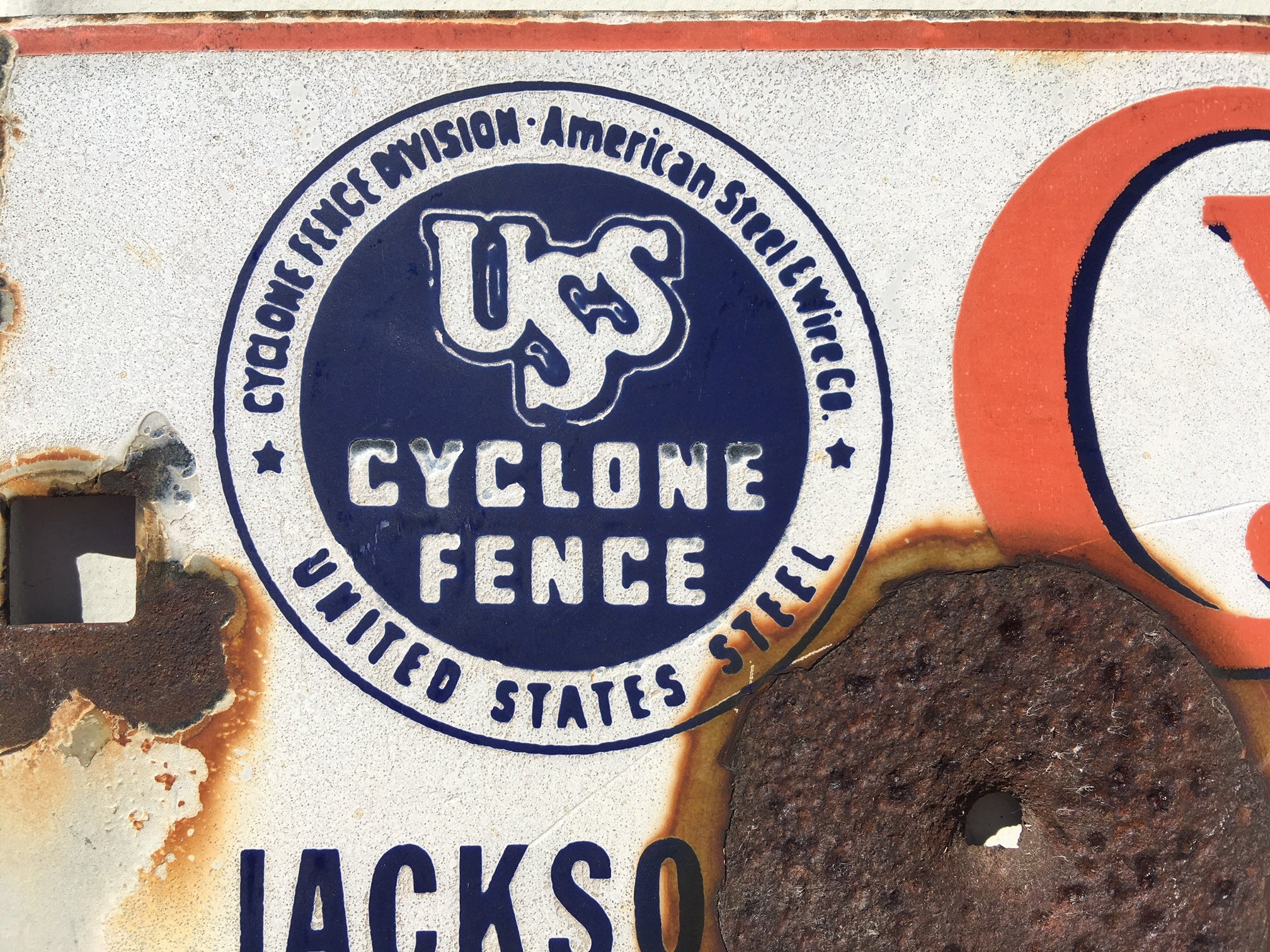 USS Cyclone Fence Jackson MS Vintage Porcelain Sign