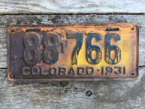 1931 Colorado License Plate 88766 For Sale