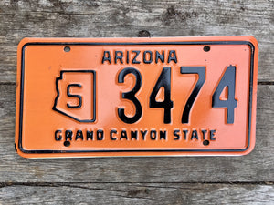 Vintage Arizona License Plate 3474 For Sale