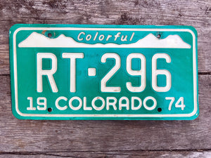 1974 Colorado License Plate RT296 For Sale