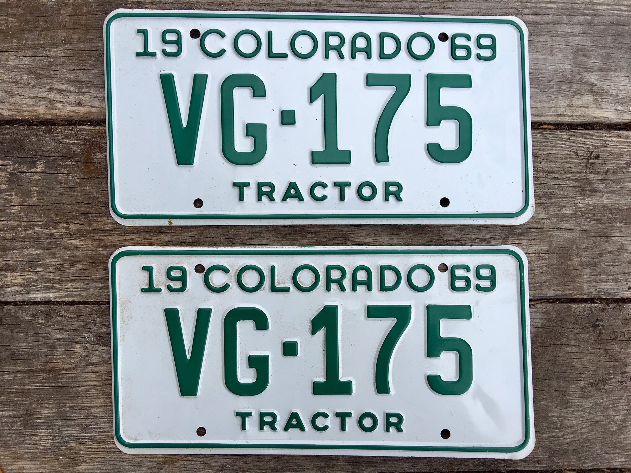 NOS 1969 Colorado Tractor License Plates VG175 Set (New Old Stock ...
