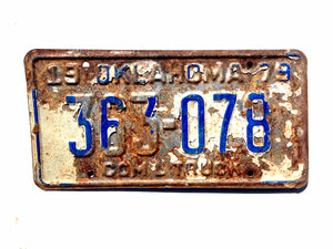 Oklahoma 1979 License Plate 363078 Blue on White