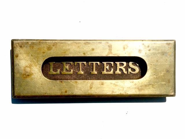 Antique Brass Door Mail Letterbox Letter Slot with Spring