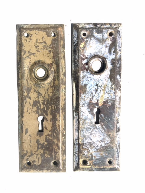 Pair of Shabby Chic Chippy Antique Door Faceplates