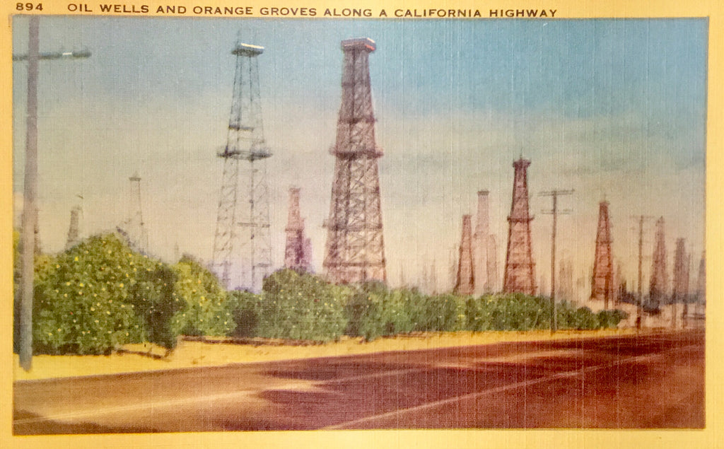 Linen Postcard Oil Wells & Orange Groves along California Highway Unused AB00129