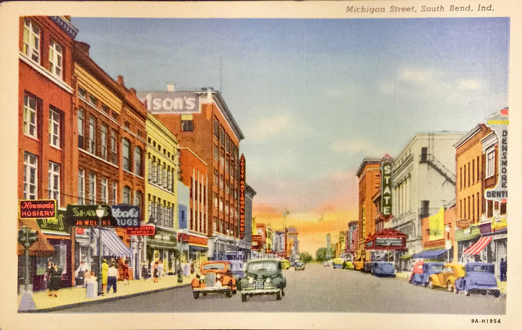 Vintage Linen Postcard Michigan Street South Bend Indiana Unused NOS AB00131