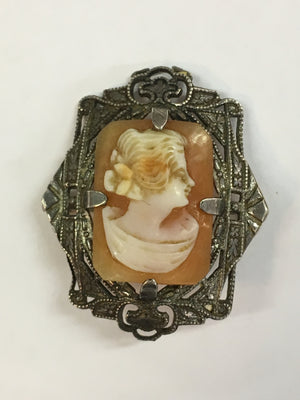 Antique Cameo Brooch Set In Sterling Silver