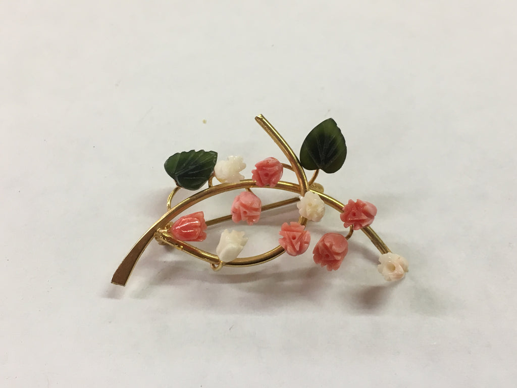 Jade and Coral Lily Of The Valley Brooch