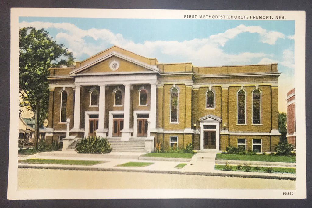 Unused Vintage Linen Postcard First Methodist Church Nebraska Unused NOS