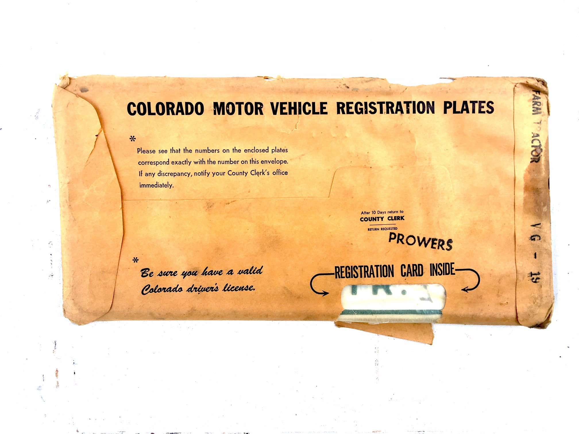 1969 Colorado Farm TR License Plates VG19 Set NOS (New Old Stock)