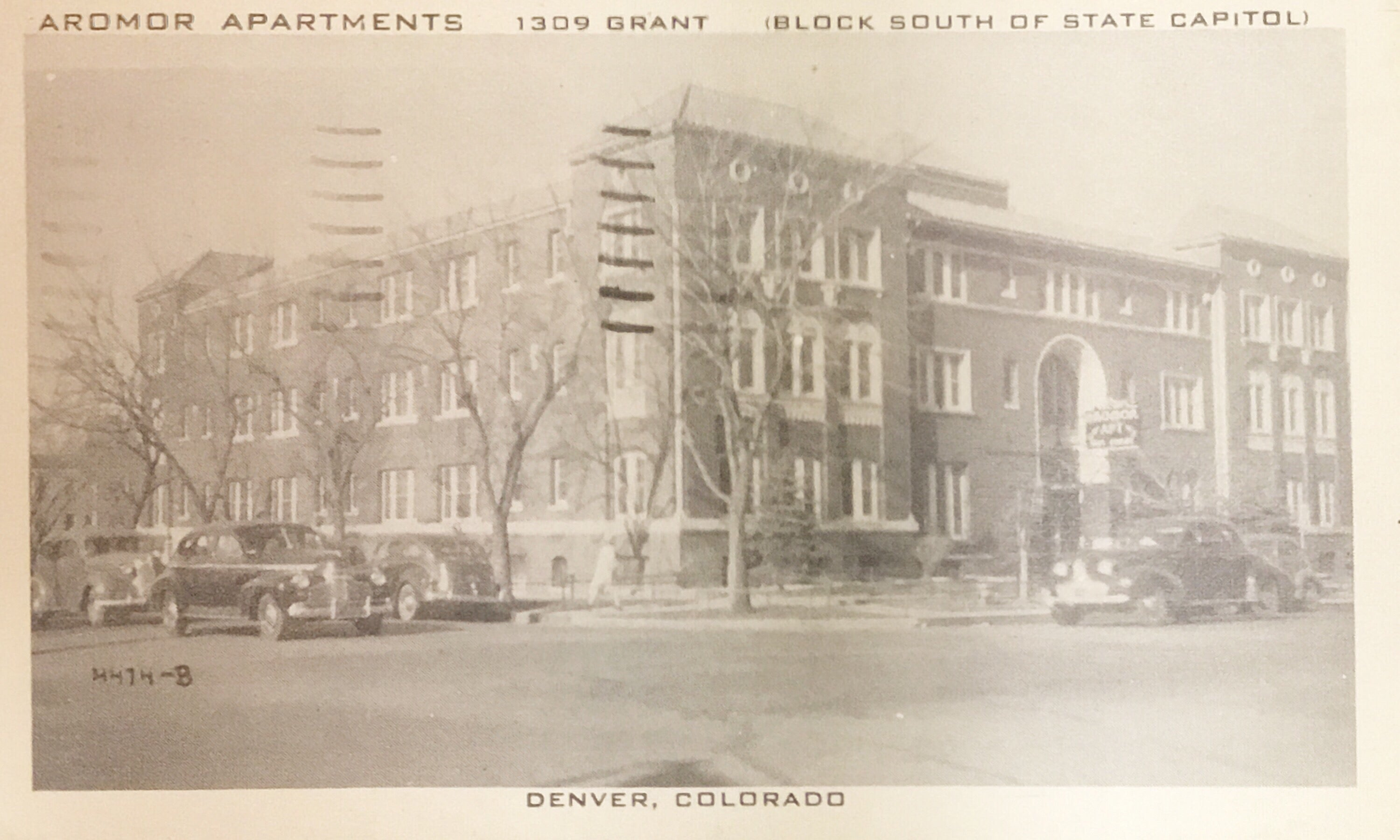 Vintage Postcard Armor Apartments 1309 Grant Denver Colorado 1945 Used AB00128